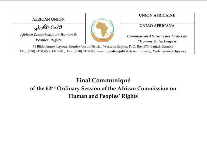 Final Communique - 62 ACHPR Session