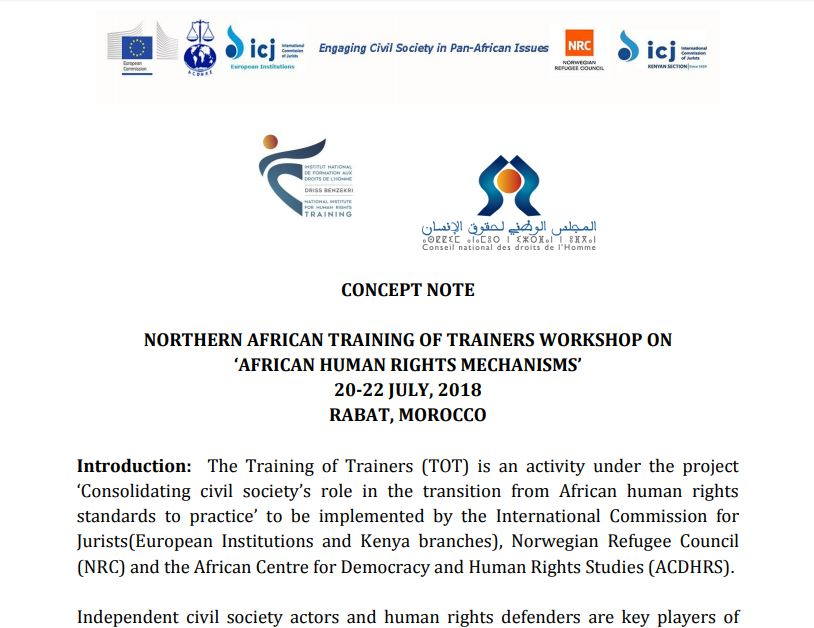 Concept Note July 2018 - Northern African Training