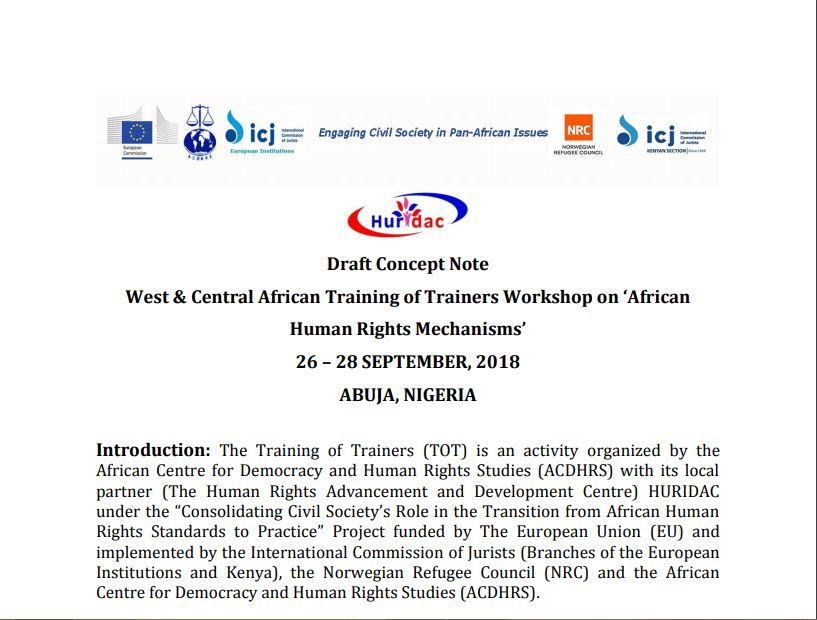 Draft Concept Note September 2018 - West & Central Africa Training